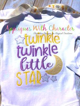 Twinkle Twinkle Little Star ZZ Outline Stitch Nursery Rhyme Design