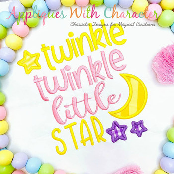 Twinkle Twinkle Little Star Satin Stitch Applique Nursery Rhyme Design