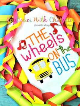 Wheels on the Bus Nursery Rhyme ZZ Stitch Design