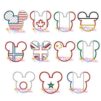 11 World Flag Mr Mouse Head Applique Set