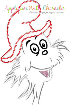 Seuss Sam I Am Bust ZZ Stitch Applique Design