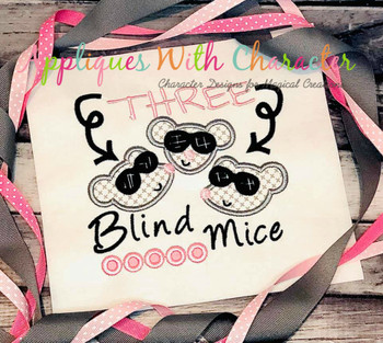 Three Blind Mice Nursery Rhyme Applique Design