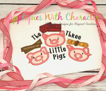 Three Little Pigs Fairy Tale Applique Design