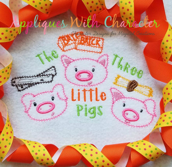 Three Little Pigs ZZ Stitch Fairy Tale Design