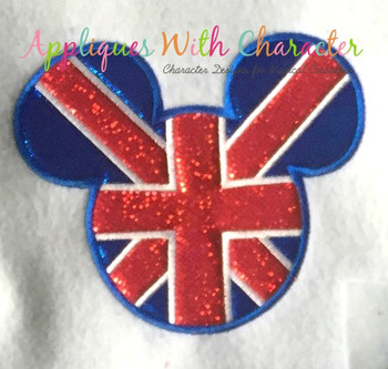 England Flag Mr Mouse Head Epcot  Applique Design
