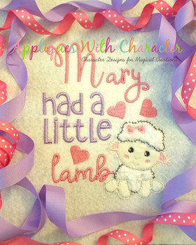 Mary Had a Little Lamb ZZ Stitch Nursery Rhyme Design