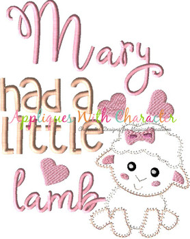 Mary Had a Little Lamb ZZ Stitch Nursery Rhyme Design