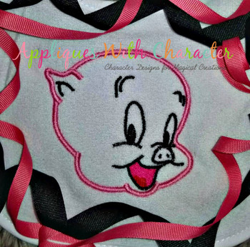 Porky Pig Peeker Applique Design