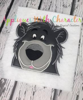 Jungle Baloo Bear Peeker Applique Design