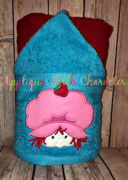 Vintage Strawberry Girl Peeker Applique Design