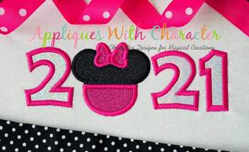 2021 Miss Mouse Head Applique Design