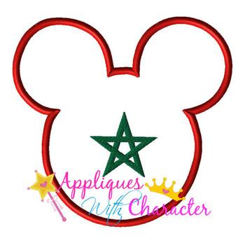 Morocco Morrocan Flag Mr Mouse Head Epcot Applique Design