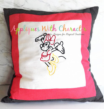 Miss Mouse Jumping Silhouette Embroidery Design