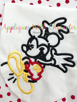 Mr. Mouse Jumping Silhouette Embroidery Design