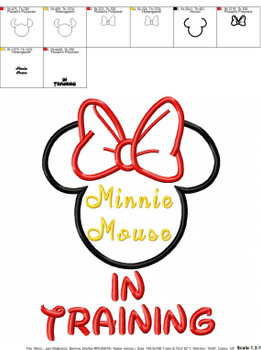 Miss Mouse In Training Applique Design