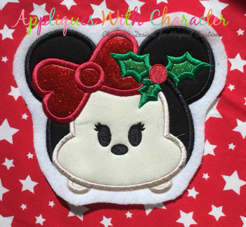 Christmas Miss Mouse Tsum Tsum Applique Design