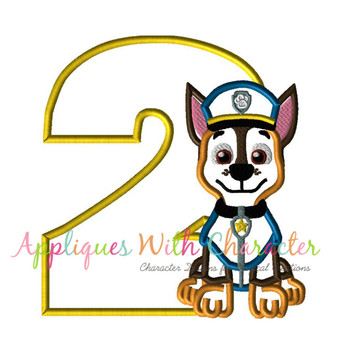 Pup Patrol Chasie Two Applique Design