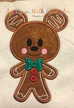 Gingerbread Miss Mouse Cookie Applique Design