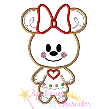 Gingerbread Minny Cookie Applique Design