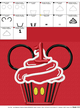 Mr Mouse One Cupcake Applique Design