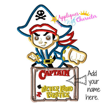 Boy Pirate Applique Design
