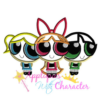 Puffy Power Girl Trio Applique Design
