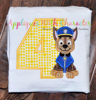 Pup Patrol Chasie Four Applique Design