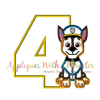 Pup Patrol Chasie Four Applique Design