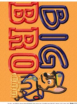 Pup Patrol Chasie BIG BRO Applique Design