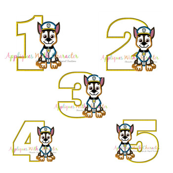 Pup Patrol Chasie One Two Three Four Five Set  Applique Design