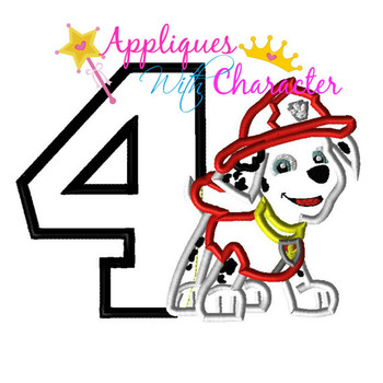 Pup Patrol Marshill Four Applique Design
