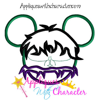 Hulk Mr Mouse Head Applique Design