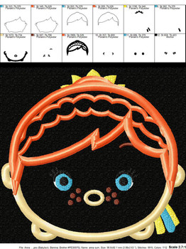 Frozen Anna Summer Tsum Tsum Applique Design
