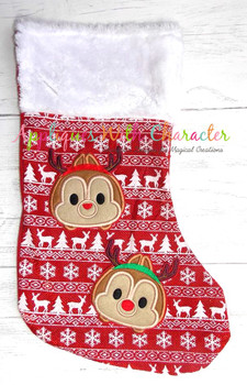Christmas Chip and Dale Tsum Tsum Applique Design