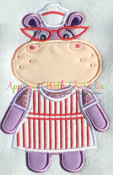 Doc McStuffins Hallie Hippo Applique Design