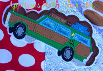 Christmas Vacation Wagon Applique Design