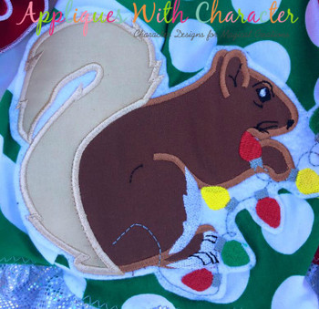 Christmas Vacation Squirrel Applique Design
