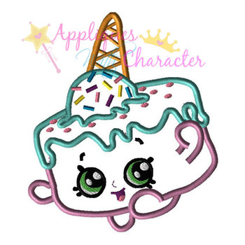 Shopikin Ice Cream Cake  Applique Design