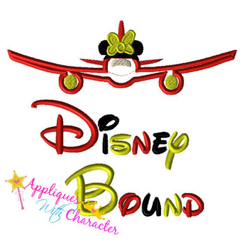 Disney Bound Minny Airplane Saying Applique Design