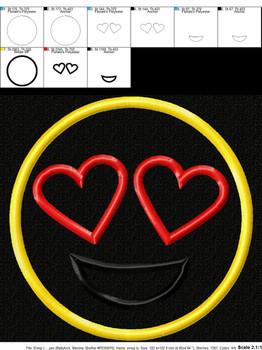 Love Emoji Applique Design
