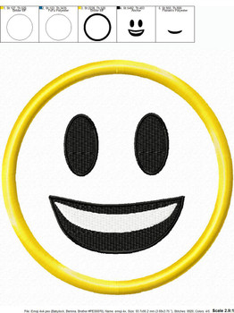 Smiling Emoji Applique Design