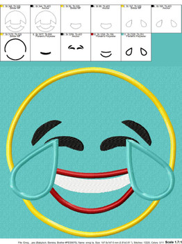 Laughing Emoji Applique Design