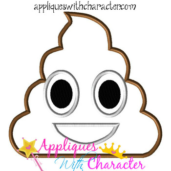 Poop Emoji Applique Design