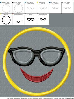 Sunglasses Emoji Applique Design