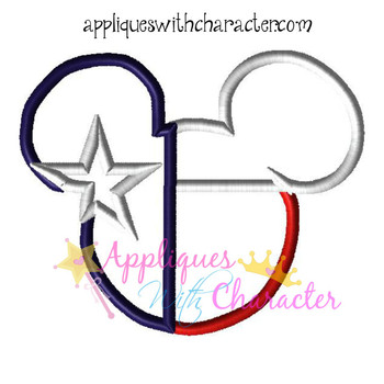 Texas Flag Mr Mouse Head Epcot Applique Design