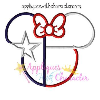 Texas Flag Miss Mouse Head Epcot Applique Design