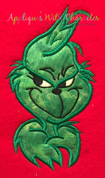 Grinchy Bust Applique Design