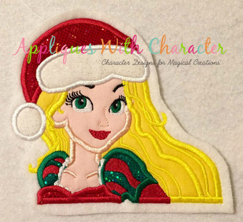 Rapunzella Christmas Bust Applique Design