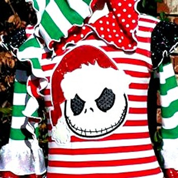 Nightmare Before Christmas Santa Jack Skeleton Applique Design
