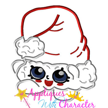 Shopikins Christmas Santa Hat Applique Design